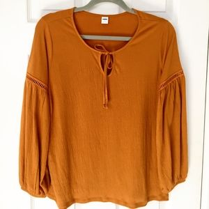 Old Navy Mustard Yellow/Orange Wide Sleeve Top